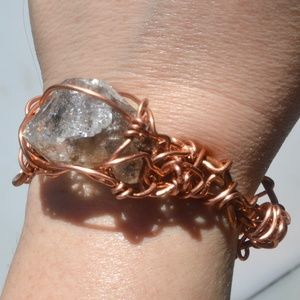 Rainbow Herkimer Diamond Mens Solid Copper Cuff